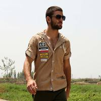 Summer Casual Mens Pilot Shirt 100 Cotton Short Sleeve Patchwork Pocket Shirts Hoodies Outdoor Military Style