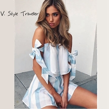 Casual Striped Playsuit off Shoulder Sexy Bodysuit Women Shorts Boho Jumpsuit vestido Summer Style Sash Bow Resort Wear Romper