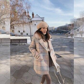 Mishow 2019 Women Coat outerwear winter clothing fashion warm woolen blends female elegant Double Breasted woolen coat MX18D9679 5