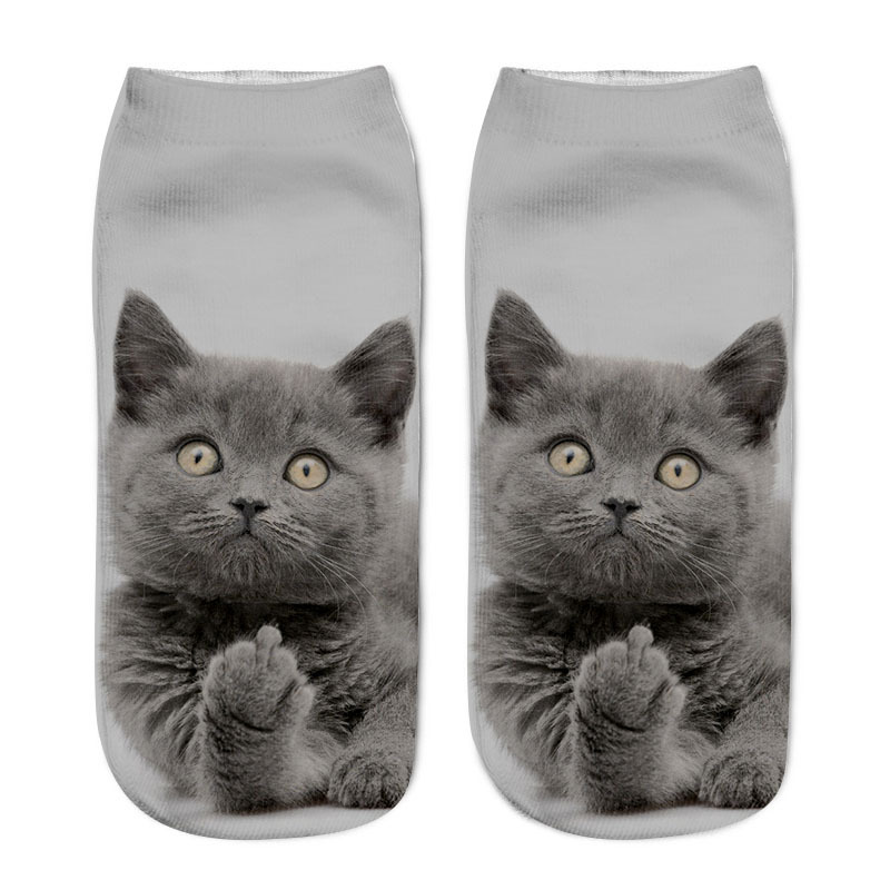 Fashion Cute Cat Socks 3D Print Women Men Funny Happy Cool Cartoon Ankle Socks Animal Fun Short Sock For Winter Spring