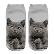 Fashion Cute Cat Socks 3D Print Women Men Funny Happy Cool Cartoon Ankle Socks Animal Fun Short Sock For Winter Spring цены