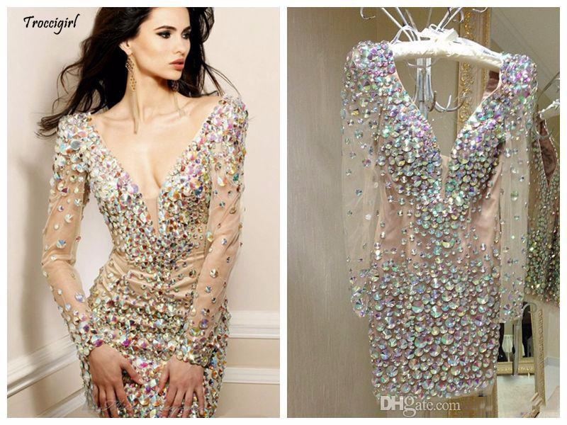 Bling Rhinestone Cocktail Dresses Party Gowns Sexy Deep V Neck Long Sleeve Short  Special Occasion Dresses for Women