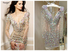 Bling Rhinestone Cocktail Dresses Party Gowns Sexy Deep V Neck Long Sleeve Short  Special Occasion for Women