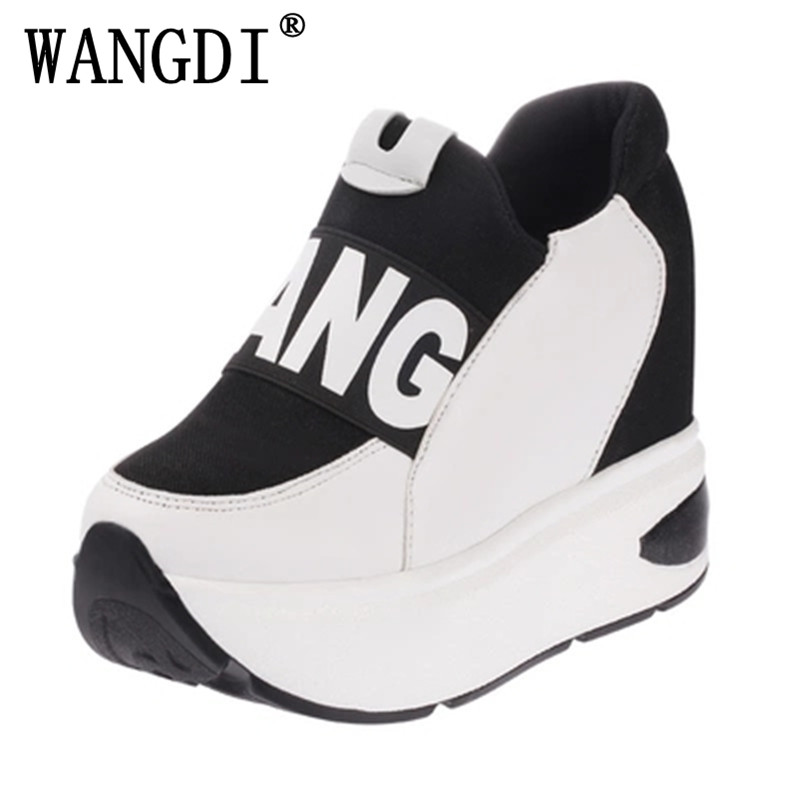 New 2017 Women Autumn Platform Shoes Woman Slip-on PU High Top wedges Casual Shoes Women's Walking Shoes Chaussure Femme 2017 new women s casual shoes sliver black platform shoes female slip on loafers bling flat shoes chaussure femme sapato x042705
