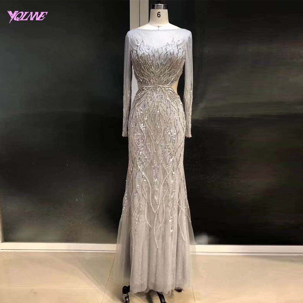 YQLNNE Sexy Backless Long Sleeve   Evening     Dress   Silver Beaded Mermaid robe de soiree Real Image