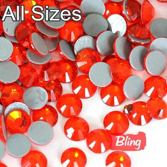 Grade AAAAA Best Flatback Glass Orange Strass Stone Iron On DIY Rhinestone  Hot Fix Crystal Hotfix 28cee73e6845