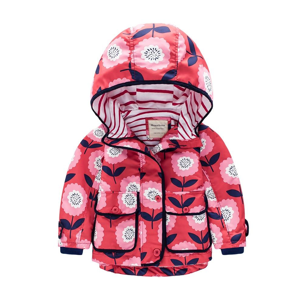 M16 Spring Autumn Red Flouers Print Boys Coat Kids Hoodie Child Jacket Girls Tops Windbreaker Autumn Coat Child Thin Jacket letter print raglan sleeve hoodie jacket