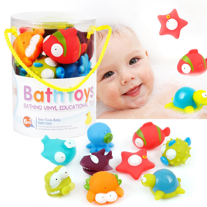 Baby Bath Toys 9pc/lot Cute Cartoon Animal Dolls Safe Bathing Supplies Spraying Water Fl ...