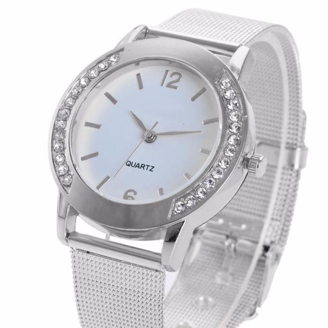 Wrist watches Woman Fashion Elegant Crystal Silver Stainless Steel Analog Quartz my20