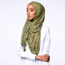 Best качество хиджаб из Джерси мягкие Materail длинные мусульманские Шали Обертывания одноцветное цвет 46 s 10 шт./лот