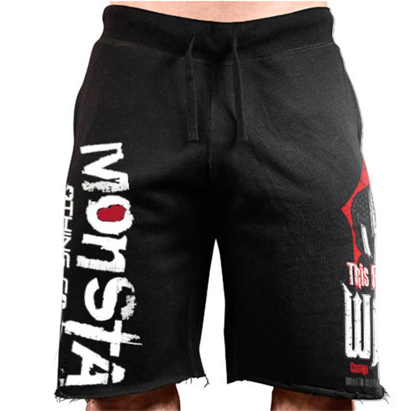 Men New Cotton Shorts Men's Loose Short Trousers Fitness Bodybuilding Jogger Mens Black Durable Sweatpants Fitness Workout Short