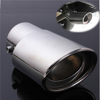 Universal 2 5 Inch Inlet Oval Car Exhaust Pipe Muffler Tip Stainless Steel Chrome