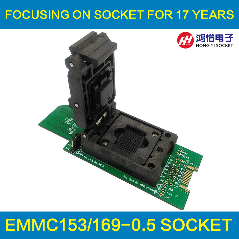 EMMC Test Socket With SD Interface Size12x16mm Pin Pitch 0 5mm HDMI Interface Bonding Pads Clamshell