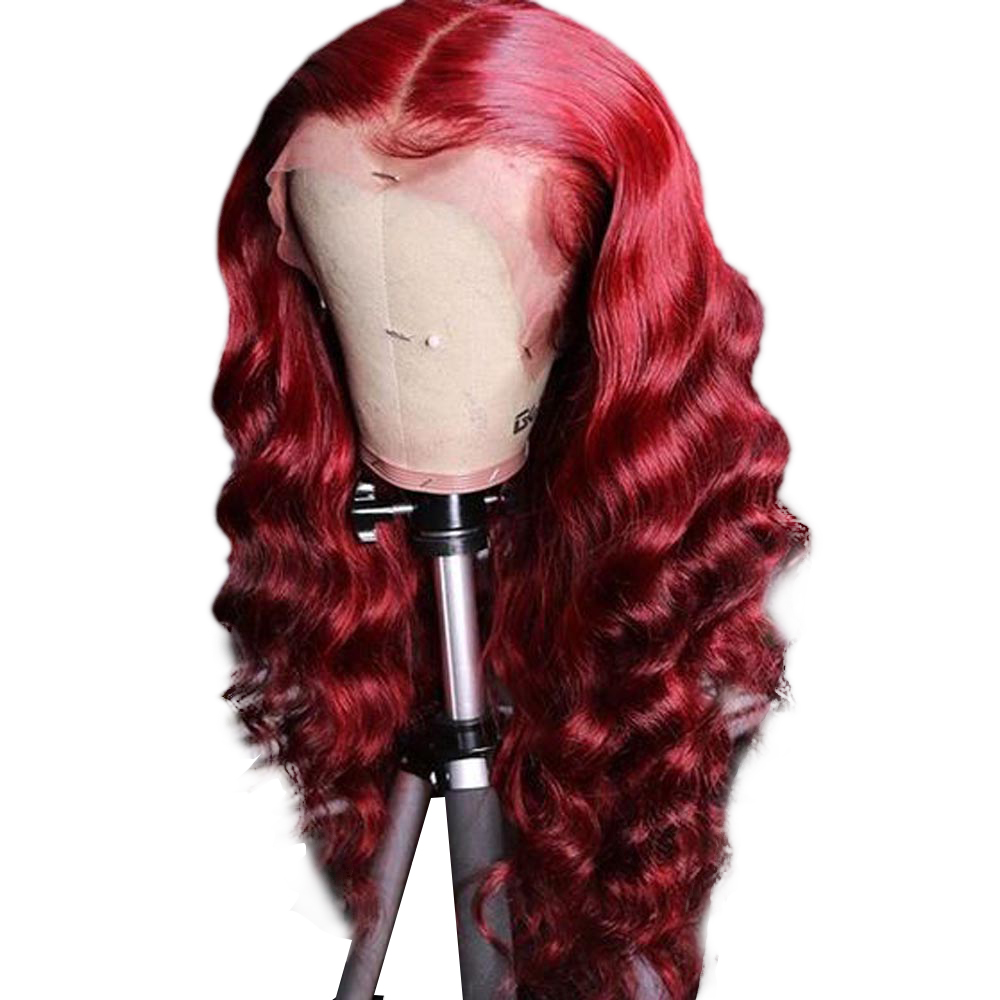 Red Human Hair Wigs Wavy Lace Front Colored Human Hair Wigs 13x6 Deep Part Burgundy Red Lace Front Wigs 150 Density Remy