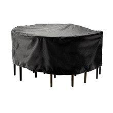 Cubierta redonda de 2 tamaños, impermeable, para exteriores, muebles de jardín y Patio, cubierta para lluvia, nieve, fundas para sillas, sofá, mesa, silla, cubierta a prueba de polvo