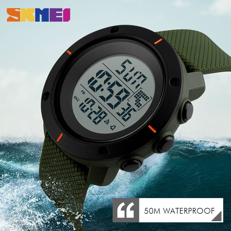 SKMEI Men Big Dial Sports Watches Multifunction Chronograph 50M Water Resistant Alarm Clock Date Digital Wristwatches 1213