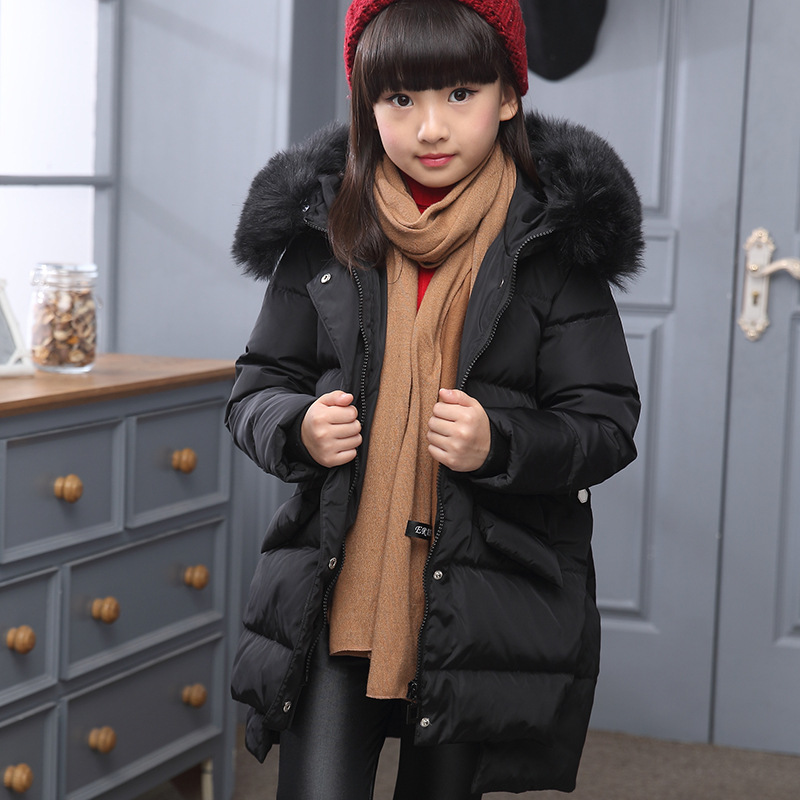0b57918e2 fur hooded long down jacket for little teenage girls warm thick ...