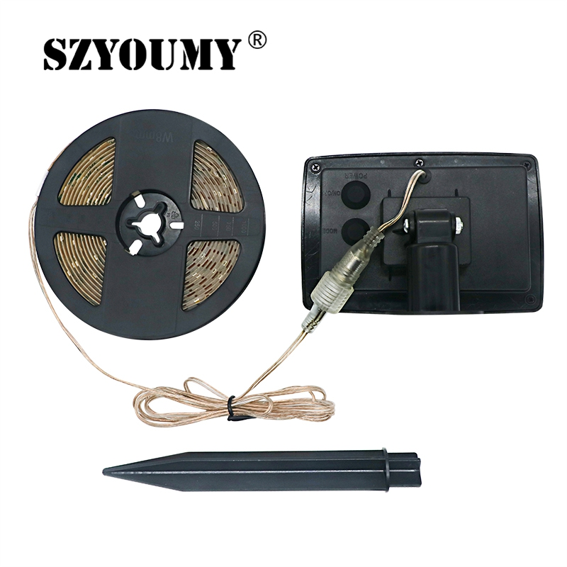 SZYOUMY 16.4 feet LED Flexible and Cuttable Solar String lights, Waterproof IP65,2 Modes, Auto ON/OFF Light Strips for outdoor