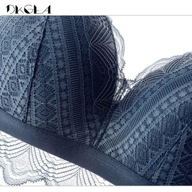 New Top Blue Bra Panties Set Lace Lingerie Thin Cotton  Brassiere Wire Free Embroider Bra Women Underwear Set Sexy Deep V Gather 6