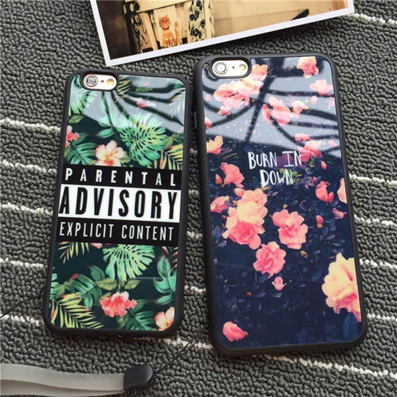 Luxury Cell Phone Cases for Apple iPhone 6 6s Plus 5 5S SE 6Plus Flowers Lover <font><b>Blu-ray</b></font> Soft TPU <font><b>Mirror</b></font> Capa Cover with Lanyard