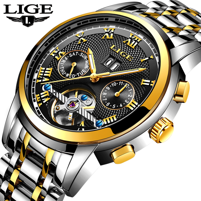 Relogio Masculino LIGE Mens Watches Top Brand Business Automatic Mechanical Watches Mens Stainless Steel Waterproof Sport Watch
