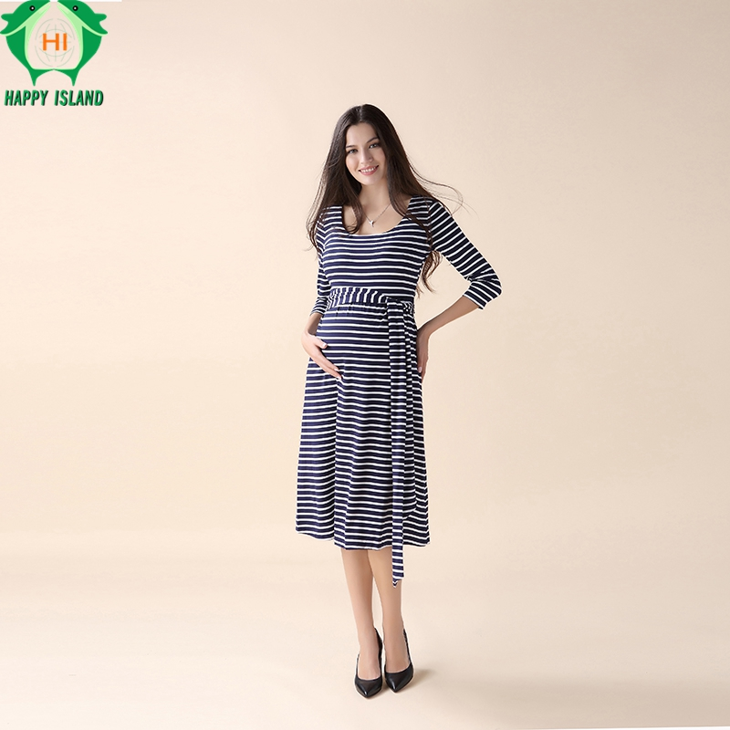 Happy Lovely Stripped Pregnant Women Party Sashes Dress Elegant Office Lady Vestidos Maternity Clothes Plus Size Maternity Dress happy easter stripped pregnant women party sashes dress elegant office lady vestidos maternity clothes plus size maternity dress