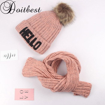 Doitbest HELLO Letters hairball kid beanies sets velvet wool kids Child Knit fur hats winter fur inside 2 pcs boy girl scarf hat