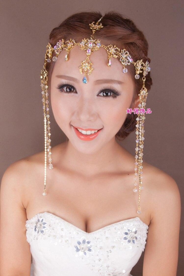 2016 fashion alloy crystal tassle head chain rhinestone bridal