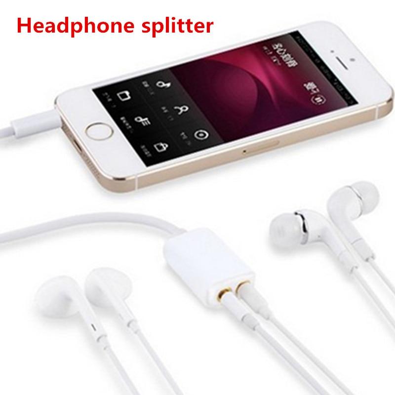NEW Dual Audio Line Headset 3.5 Mm Jack Earphone Splitter