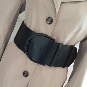 Image 4 - Cinturón de piel con hebilla redonda para mujer, con hebilla redonda Cinturón de piel, estilo clásico, 2018