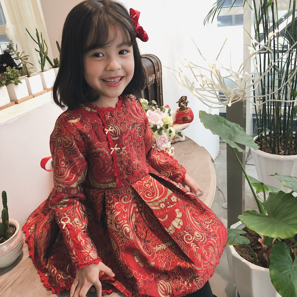 WLG girls Chinese style new year dresses kids winter velvet floral embroidery tutu dress baby casual thick clothes children 2 7T