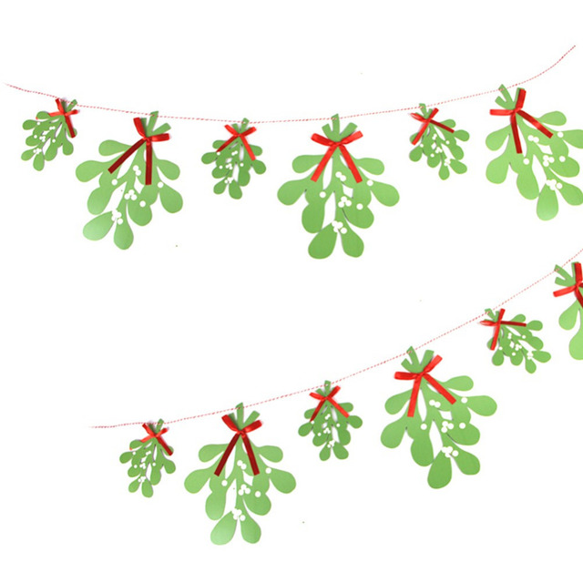 green paper mistletoe christmas garland hanging decoration christmas ornament unique gift fresh breeze stlye home decoration - Mistletoe Christmas
