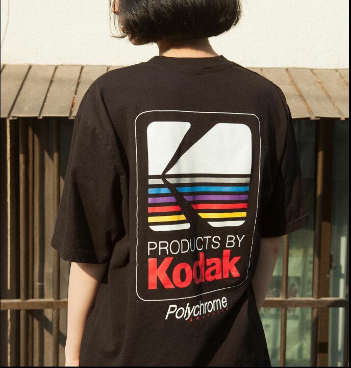 2018 verano hombres mujeres camiseta INS Corea Retro salvaje floja Kodak carta de manga corta KODAK algodón