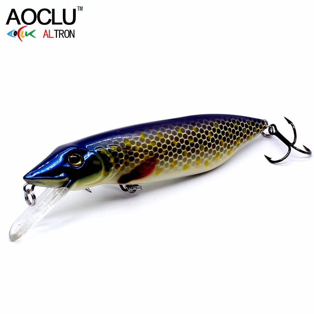 2018 AOCLU NEW LURE wobblers 110mm 22g Floating Pike Amur pikc Hard Bait Minnow Depth 2m fishing lure VMC hooks 6 colors tackle allblue slugger 65sp professional 3d shad fishing lure 65mm 6 5g suspend wobbler minnow 0 5 1 2m bass pike bait fishing tackle