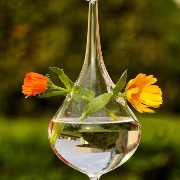 Haus & Garten Fein Klar Wasser Tropfen Form Glas Hängen Vase Flasche Hydrokultur Topf Garten Decor Unterscheidungskraft FüR Seine Traditionellen Eigenschaften Vasen