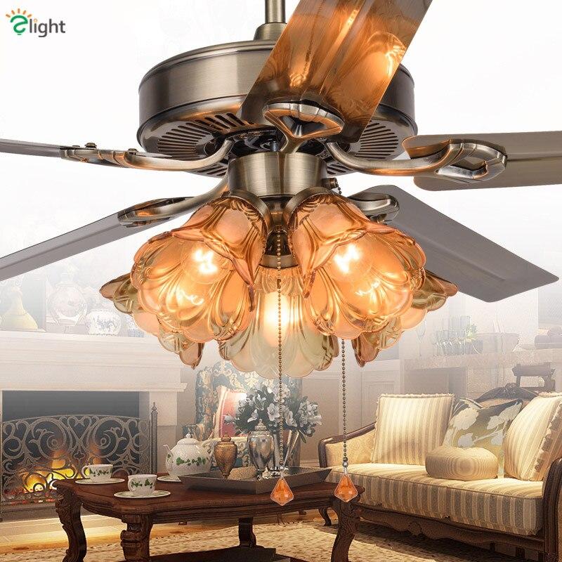 Lustre moderne en métal Bronze Dimmable Led ventilateur de plafond lampe Simple salle à manger en verre Led ventilateurs de plafond lumières Led ventilateur de plafond lumière