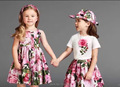 WHOLESALE NEW ARRIVAL 2017 GIRLS DRESSES FLOWER PRINTED BABY GIRL CLOTHES DRESS FOR GIRLS KIDS CLOTHING SUMMER FAMILY WEARS