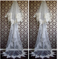 2.5 Meters Long Vintage Style Bridal Veil Long Lace Appliques Two Layer with comb Wedding Dresses Veil Luxurious Bridal Veil