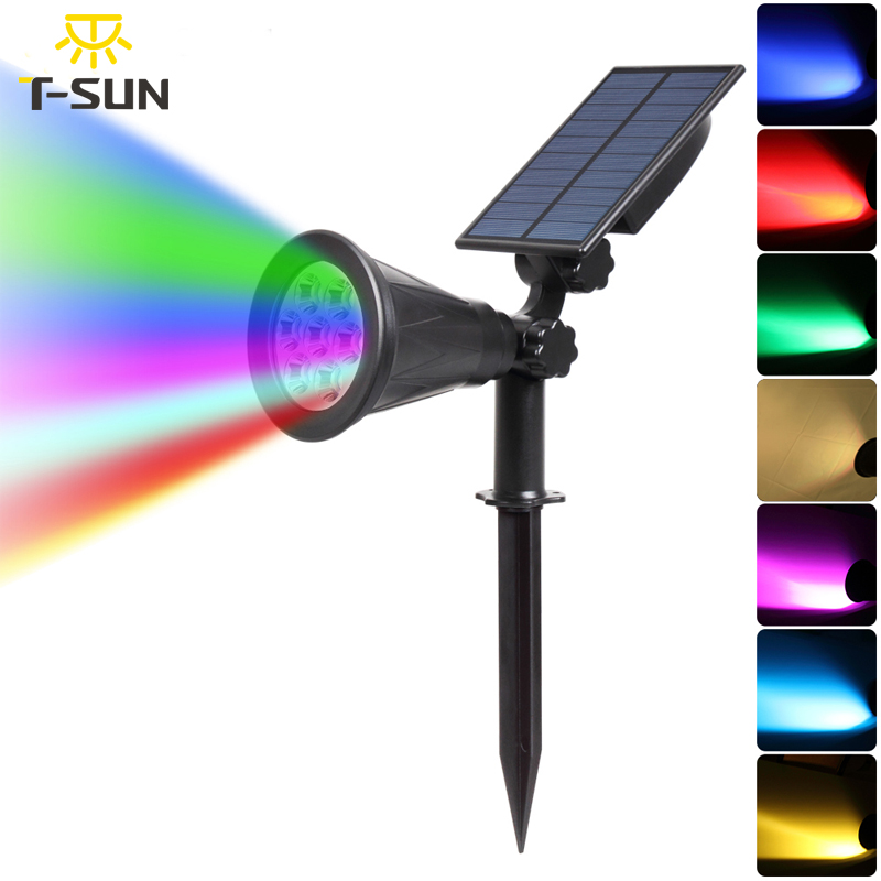 T-SUNRISE 7 LED Solar Spotlight Auto Color-Changing Outdoor Lighting Garden Solar Lamp Landscape Wall Light For Decoration