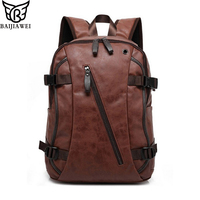BAIJIAWEI Hot Sale Men S Backpack Mix Cow Leather Backpack Casual Travel Bags Split Leather Backpacks