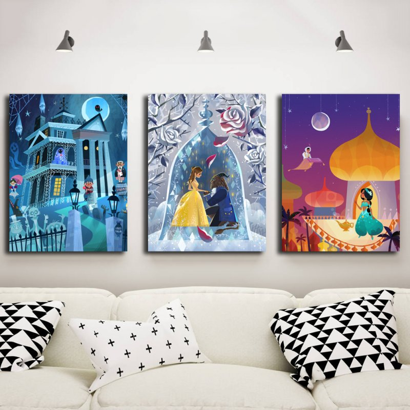Cartoon Canvas Posters Wonder Woman Beauty And The Beast Wallpaper Prints Wall Art Painting Nursery Kids Room Picture Decoration