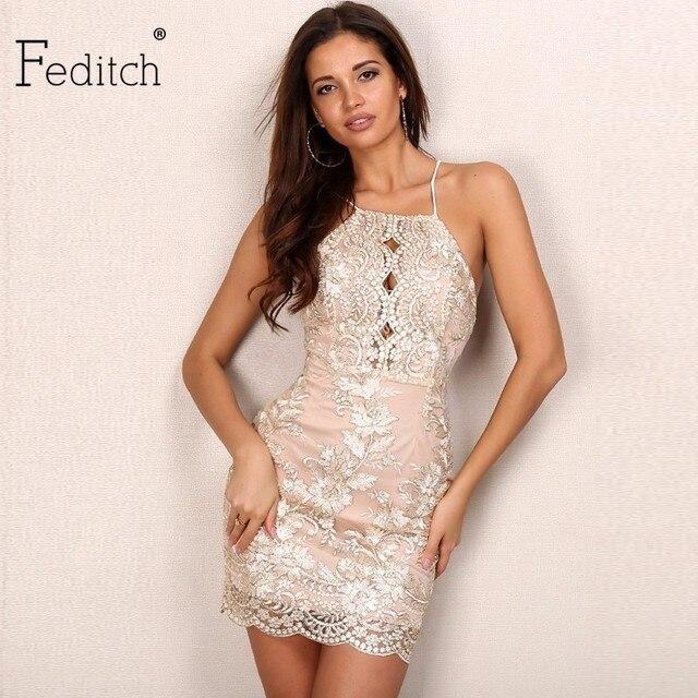 55377fdf2 Feditch Newest Women Bodycon Dress Sexy Backless Hollow Out Vintage  Vestidos Elegant Lady Clubwear Hot Sale
