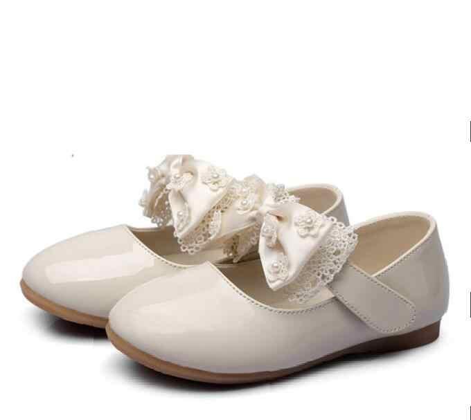 Zapatos blancos rojos de encaje con lazo para niños, niñas, flores, vestido de fiesta de boda, zapatos de cuero de princesa, zapatos de baile para niñas y adolescentes