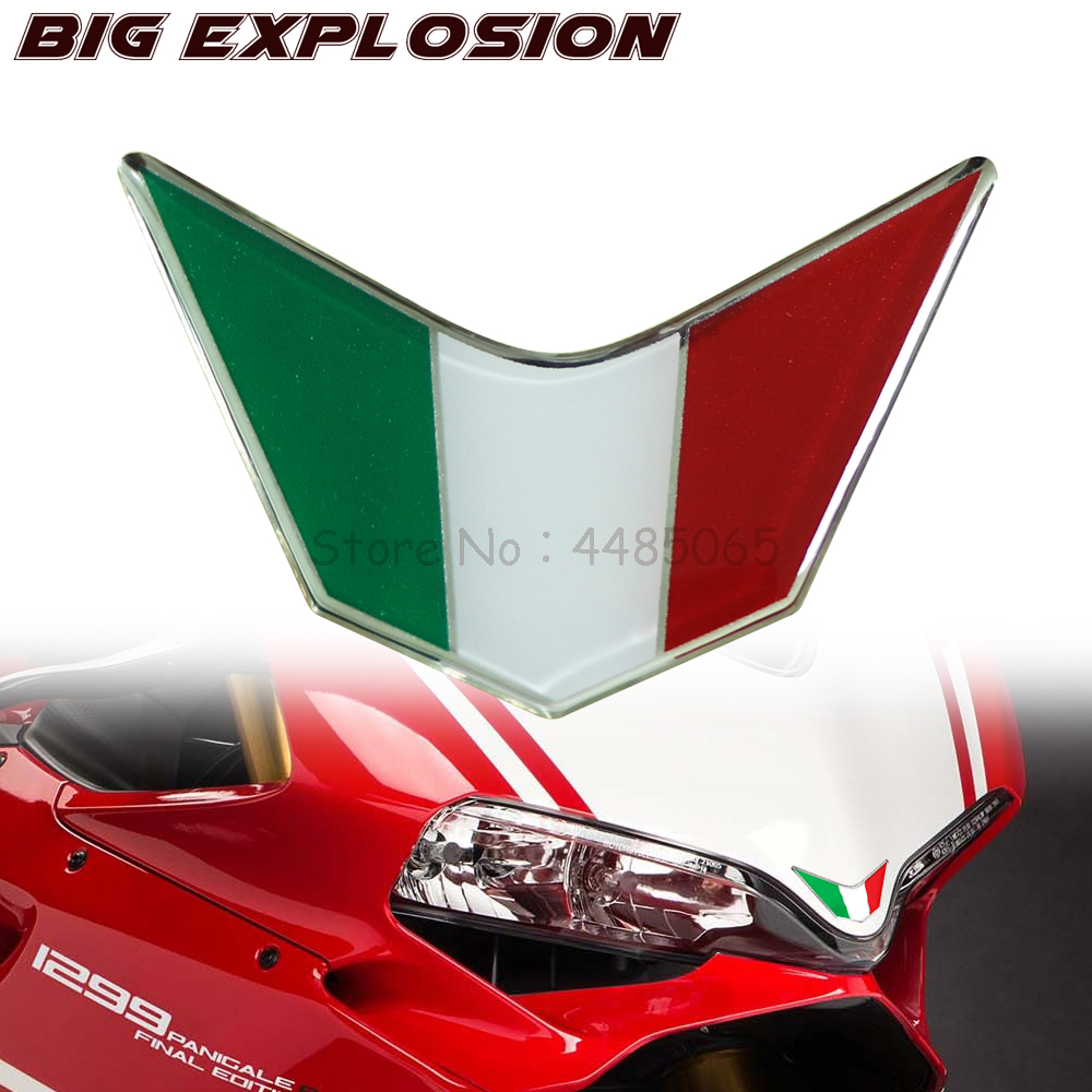 For Ducati 959, 969, 1199, 1299 PANIGALE V4 S R SUPERSPORT Motorcycle Decals 3D Front Fairing Resin Stickers Italy Sticker