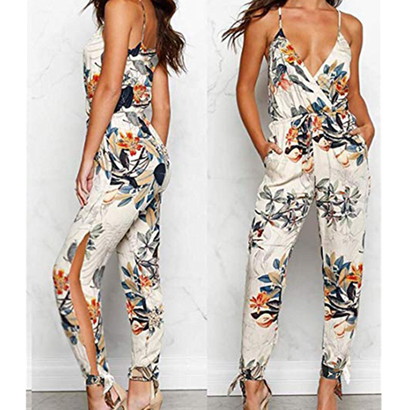 2019 Summer Women Casual Sleeveless V-Neck   Jumpsuits   Fashion Ladies Boho Floral Bodysuit Wide Leg Loose Long Pants Trousers