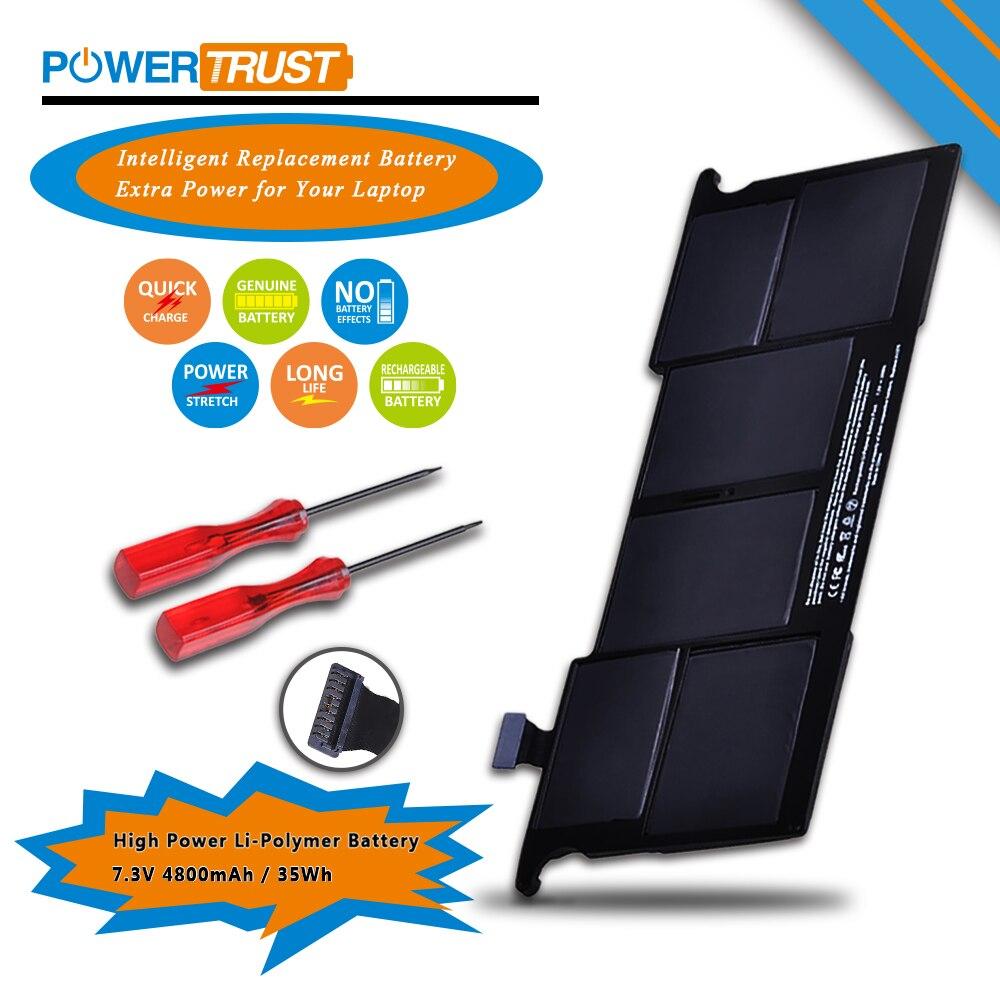 """Bilgisayar ve Ofis'ten Dizüstü Bilgisayar Bataryaları'de PowerTrust dizüstü Pil 7.3 V 35WH A1375 Pil MacBook Hava 11 için """"inç A1375 A1370 (Geç 2010 Sürümü sadece) MC505LL/Bir title="""