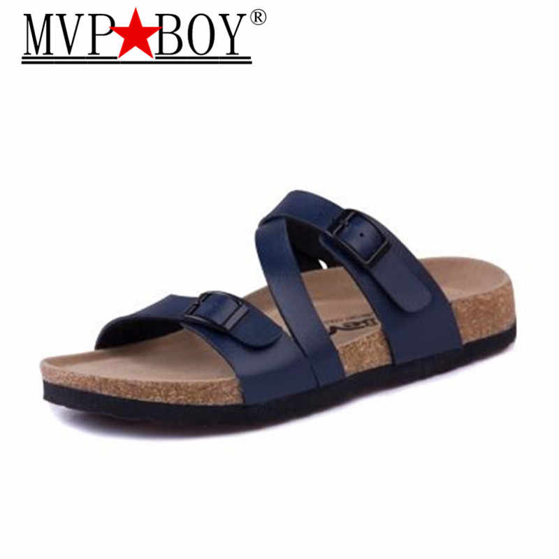 Mvp Boy 2018 New Summer Men Cork Slippers Sandals Boys Patchwork Beach  Slides Double Buckle Flip d899f78633a9