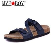 Mvp Boy 2018 New Summer Men Cork Slippers Sandals Boys Patchwork Beach Slides Double Buckle Flip Flops Shoe Plus size 35-43