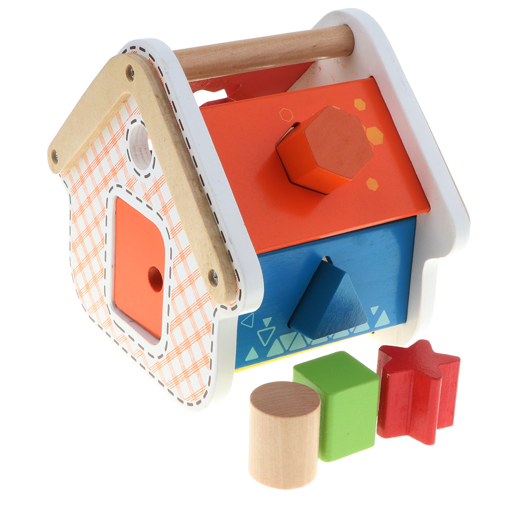 Classic Shapes Sorter - Wooden Shape Sorting House Kids Preschool Color & Shape Cognitive Developmental Toy, Easy-to-Grip Shapes(China)