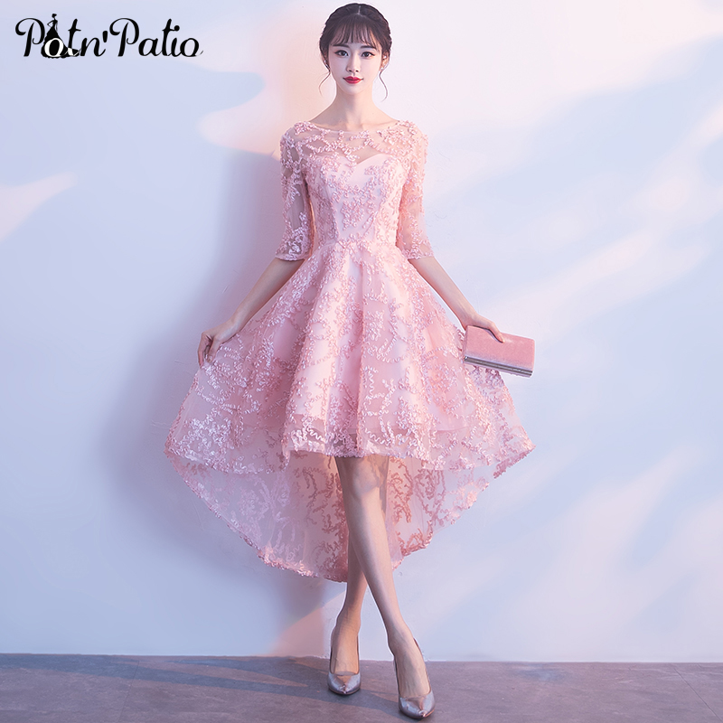 Elegant Pink High Low   Prom     Dress   with Half-Sleeve Sexy See Through Lace Applique Tulle Formal wear   Dresses   for Graduation Party